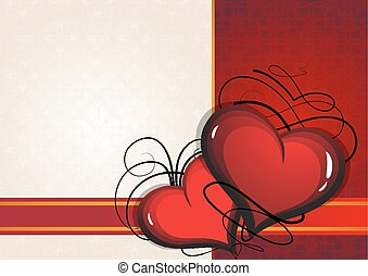 Valentine hearts on a Vintage background