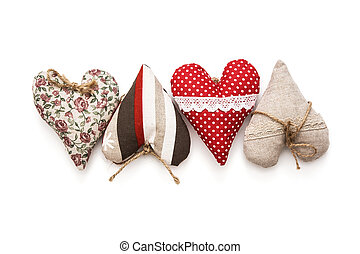 Valentine hearts on a white background