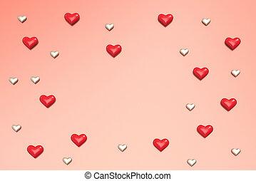 Valentine Hearts pattern background. 3D rendering.