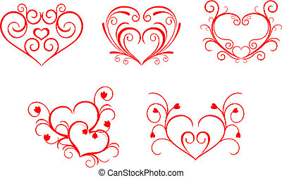 Red valentine hearts in floral style for design
