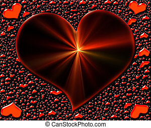 shining heart with rays and scattered small red hearts