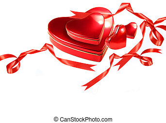 Valentine hearts with red ribbons on white