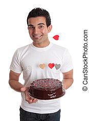 valentine, herz, kakau, fun-, kuchen, mann