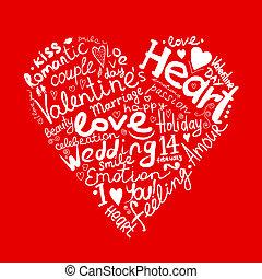 valentine, herz, skizze, für, dein, design