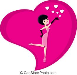 valentine, herz, und, hübsches mädchen