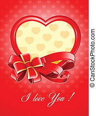 valentine, herz, vektor, abbildung, schleife