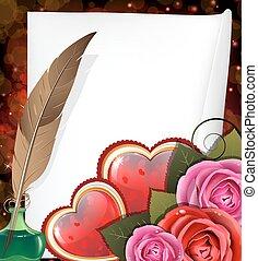 valentine, herzen, rosen, und, blatt papier