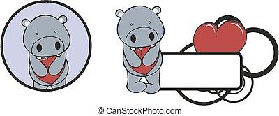 valentine hippo cartoon heart hug