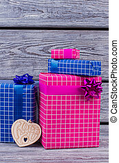 Valentine holiday background with gift boxes.