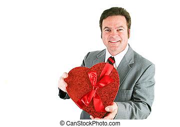 valentine, homem negócios, coração, doce