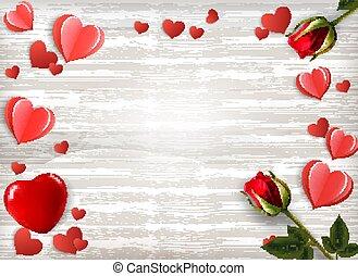 valentine, houten, teken., illustratie, papier, rozen, vector, achtergrond, hartjes, vakantie, dag, rood
