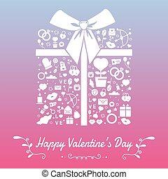 valentine, icons., simboli, sagoma, giorno, felice