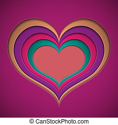 Valentine in the form of a recess in the cut from bright colored paper hearts