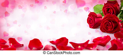 valentine invitation with hearts, petals and bloom of red roses