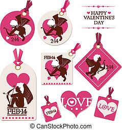 valentine, jogo, dia, cupid, etiquetas