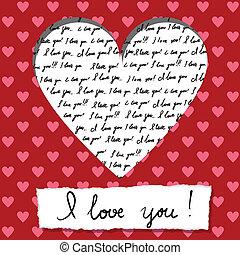 valentine kártya, noha, kézírásos