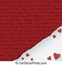 valentine karte, mit, handgeschrieben