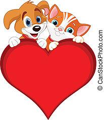 valentine, katz, und, hund, zeichen