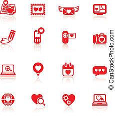 valentine, komplet, dzień, czerwony, ikony