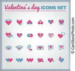 valentine, komplet, dzień, ikona