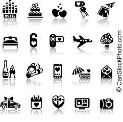 valentine, komplet, dzień, ikony