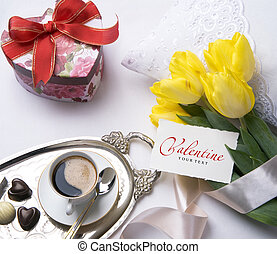 valentine, kunst, begroetende kaart, dag