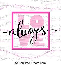 valentine, liebe, card., hand, gezeichnet, kalligraphie, ...