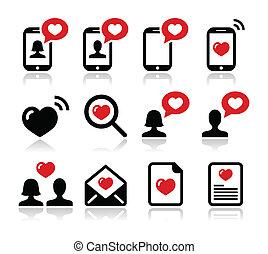 valentine, liefde, set, dag, iconen