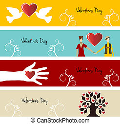 Valentine day greeting card banner set background. Vector illustration layered for easy manipulation and custom coloring.