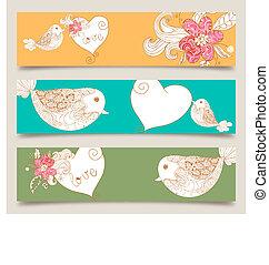Valentine love birds and blossom banner set