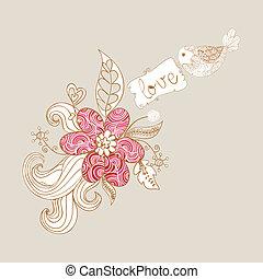 Valentine love birds and blossom