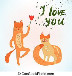 Valentine love card with funny cats