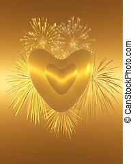 Valentine love, fireworks