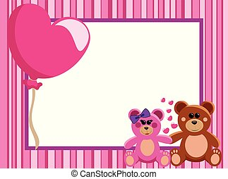 Valentine Love Frame or Border with a couple of teddy bears...