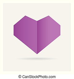 valentine love gay purple heart paper craft in frame art...