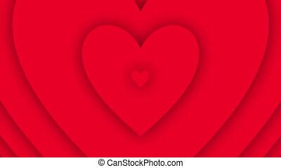 Valentine love heart endlessly increasing waves background