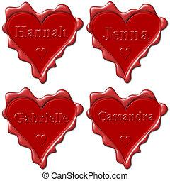 Valentine love hearts with names: Hannah, Jenna, Gabrielle, Cassandra