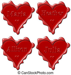 Valentine love hearts with names: Maria, Heather, Allison, Julia