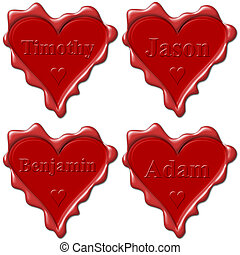 Valentine love hearts with names: Timothy, Jason, Benjamin,...