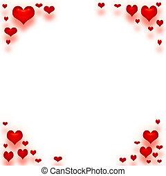 valentine love note - valentine paper framed in red hearts
