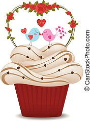 valentine, love., pássaros, cupcake