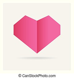 valentine love pink heart paper craft in frame art isolated on background