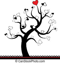 Valentine love tree leaf from heart
