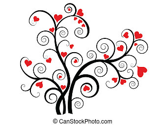 Valentine love tree with red hearts