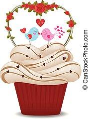 valentine, love., vögel, cupcake