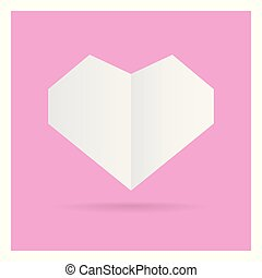 valentine love white heart paper craft in frame art isolated on pink background