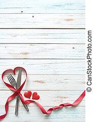 Valentine menu background - Heart shape silk red ribbon...