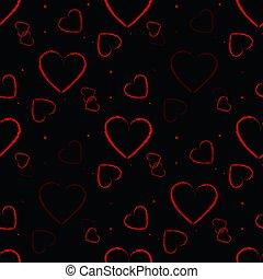 valentine, modello, seamless, illustrazione, day., fondo., vettore, nero, cuori, rosso