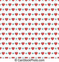 valentine, modello, seamless, illustrazione, day., vettore, cuori