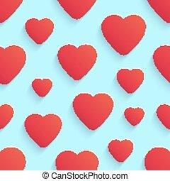 valentine, modello, seamless, vettore, cuori, giorno